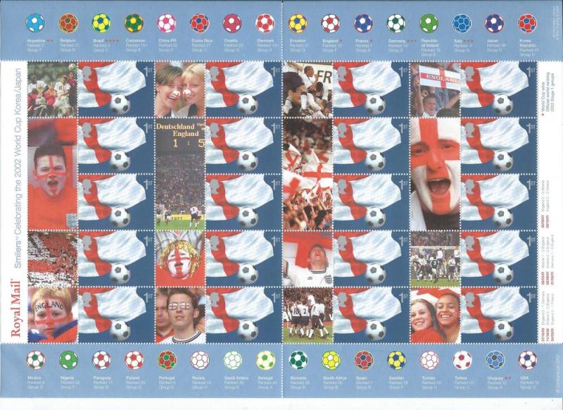 Great Britain 2055 s.g. LS8 2002 World Cup Smiler Sheet MNH