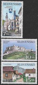SLOVAKIA 1995 UNESCO World Heritage Sites Set Sc 228-230 MNH