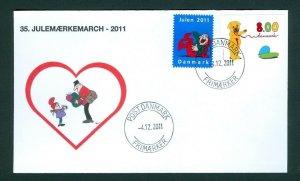 Denmark Cover Cachet  # 35  Christmas Seals Walk 2011. Post Denmark. Mailman
