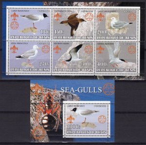 Benin 2002 SEA-GULLS BIRDS -ROTARY - SCOUTS Sheetlet (6) + 1 Souvenir Sheet MNH