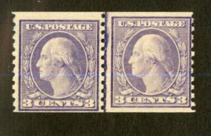 US Stamps # 493 3c Washington FVF OG NH Line Pair Fresh And Scarce