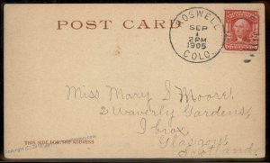 USA 1905 Colorado ROSWELL DPO Cover Helbock R4 Postcard SCOTLAND 94244