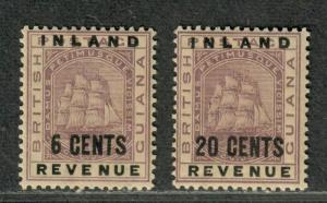 British Guiana Sc#118+121 M/LH/VF, Cv. $42.50