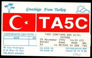 QSL QSO RADIO CARD Greetings From Turkey,Flag,Palm Trees,M. Veziroglu, (Q2994)