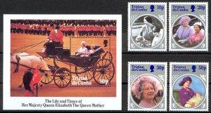Tristan Da Cunha Sc# 372-376 MNH 1985 Queen Mother 85th Birthday