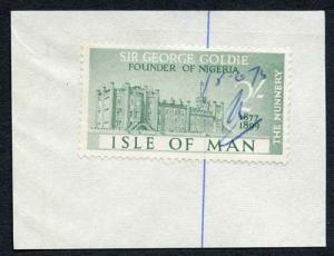 Isle of Man 2/- Green QEII Pictorial Revenue Manuscript Cancel On Piece