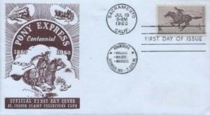1154 4c PONY EXPRESS -1st St. Joseph SC cachet - Brown