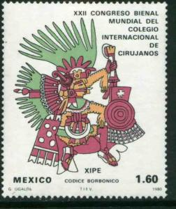MEXICO 1204, Biennial of the Intl. College of Surgeons.AZTEC GOD MINT, NH. F-VF.