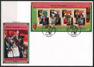 CENTRAL AFRICA 2017  NELSON MANDELA SHEET FIRST DAY COVER
