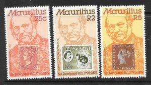 MAURITIUS SG577/9 1979 SIR ROWLAND HILL MNH