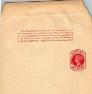 Barbados One Penny QV newspaper wrapper unused no surcharge
