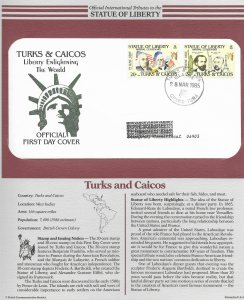 Statue of Liberty Turks and Caicos 1986 FDC with write up.