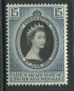 Quaiti State - Scott 28 - Coronation Issue - 1953 - MVLH- Single 15c Stamp