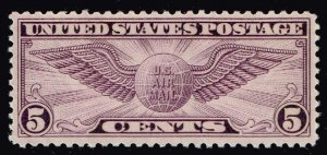 US STAMP #C12 – 1930 5c Winged Globe Flat Plate Perf 11 MNH/OG