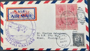 1929 Nassau Bahamas First Flight Airmail Cover FFC To Miami FL USA FAM 7