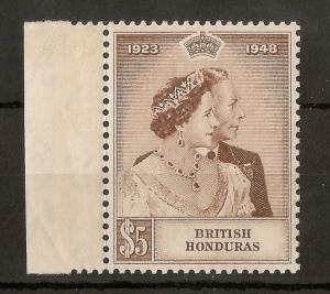 Br Honduras 1948 $5 Royal Silver Wedding SG165 MNH