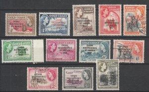 Ghana 1957/1958 overprinted QEII stamp set Sc# 5/13,25/27 - MH/Used (7014)