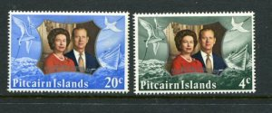 Pitcairn Islands MNH 127-8 QE II 25th Wedding Anniversary