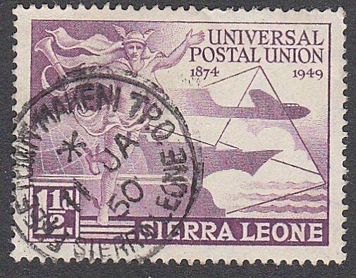 SIERRA LEONE 1950 UPU 1½d FREETOWN - MAKENI TPO cds.........................C251