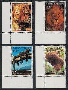 Sao Tome Wild Animals Tiger Lion Gecko Potto 4v Corners MI#1676-1679
