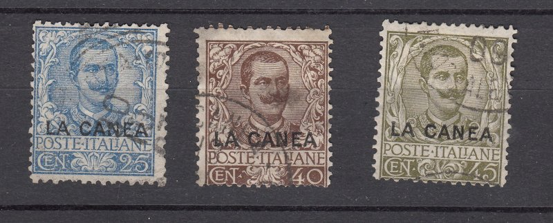 J28516 1906 italial italy office in crete used #8-10 ovpt,s king $69.00 scv