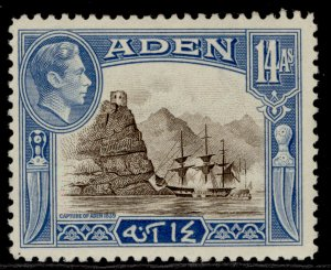 ADEN GVI SG23a, 14a sepia & light blue, LH MINT.