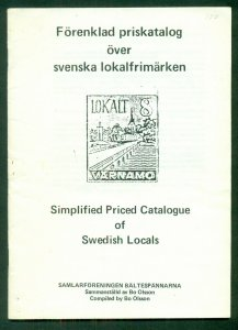 SIMPLIFIED PRICED CATALOGUE OF SWEDISH LOCALS , SOFT COVER, 31 PAGES