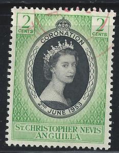St Christopher-Nevis-Anguilla #119 2c Coronation-Queen Elizabeth II