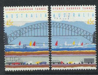 Australia SG 1375 and 1376  Used  perf 14½ - Harbour Tunnel