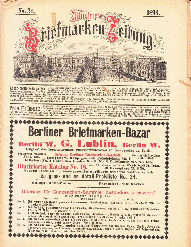 Illustrate Briefmarken Zeitung 1893 #24
