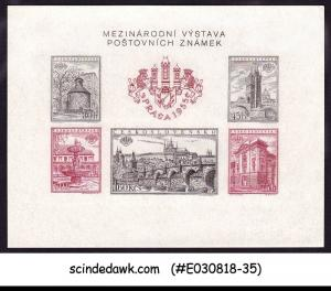 CZECHOSLOVAKIA - 1955 INTERNATIONAL STAMP EXHIBITION PRAGUE MIN/SHT MNH IMPERF