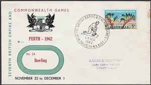 AUSTRALIA 1962 Commonwealth Games commem cover - BOWLING cancel............27539