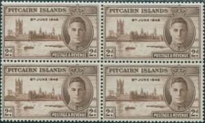 Pitcairn Islands 1946 SG9 2d Parliament House London block MNH