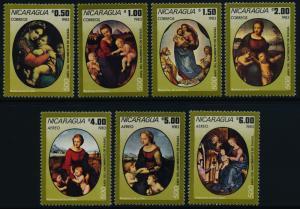 Nicaragua 1287-93 MNH Art, Paintings, Madonna
