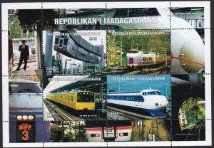 Madagascar MNH M/S 1999 Trains JR Emu Shinkansen [113887]