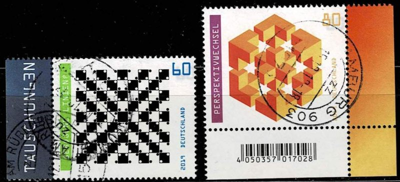 Germany 2019, Michel# 3496  3497 used optical illusions