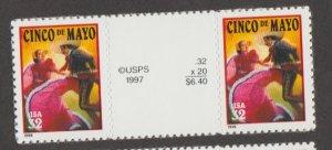 U.S. Scott #3203 Cinco De Mayo Stamps- Mint NH Vertical Gutter Pair