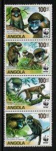 Angola #1364 MNH Strip - World Wildlife Fund - Monkeys - 40% Cat.