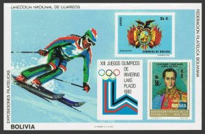 Bolivia 575/C320,MNH.Michel Bl.91. Olympics Lakw Placid-1980.Simon Bolivar.