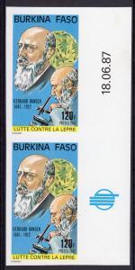Burkina Faso 1987 Sc#805 Medicine Gerhard Hansen Microscope Pair IMPERF.MNH