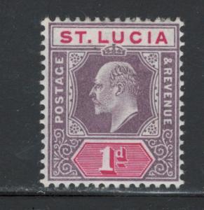 St. Lucia 1904 King Edward VII 1p Scott # 51 MH