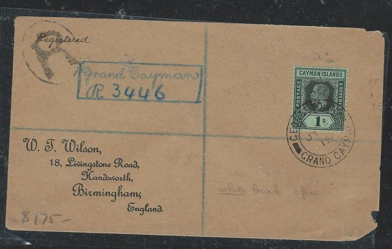 CAYMAN ISANDS (P1706B)1915 KGV 1/= REG SINGLE FRANK TO ENGLAND