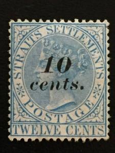 Malaya Straits Settlements 1881 QV 10c opt 12c MH SG#45 M1880A