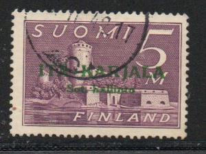 Finland Karelia Sc N13 1942 5m green overprint stamp used