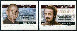 HERRICKSTAMP NEW ISSUES ITALY Sc.# 3501-02 Fight Against Mafia Self-Adh.