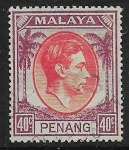MALAYA PENANG SG18 1949 40c RED & PURPLE USED