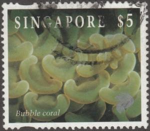 Singapore stamp,, Scott# 684, used, bubble coral, lion-sea life   #M495