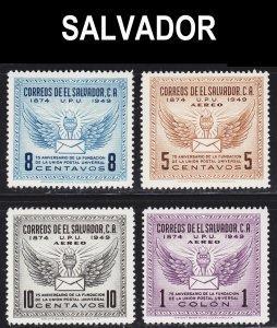 El Salvador Scott 613, C122-24 complete set F to VF mint OG H.