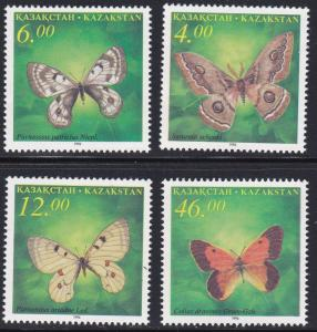 Kazakhstan # 161-164, Butterflies, NH, 1/2 Cat.