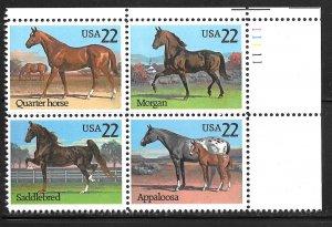 USA 2155-2158: 22c Horses (Equus ferus caballus), MNH, VF